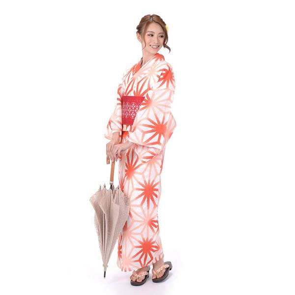 浴衣 セット ゆかた セット レディース 3点セットhiromichi nakano ヒロミチナカノ 吸水速乾 白地オレンジ麻の葉