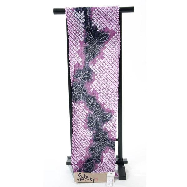 浴衣 反物 絞り 紫 ひまわり 綿 オプションでお仕立てできます
