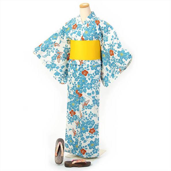 浴衣 セット レディース 3点セット 浴衣+半巾帯+下駄 日本製コットン使用 東洋紡生地 コールドチェンジ使用 涼しい オフホワイト 水色