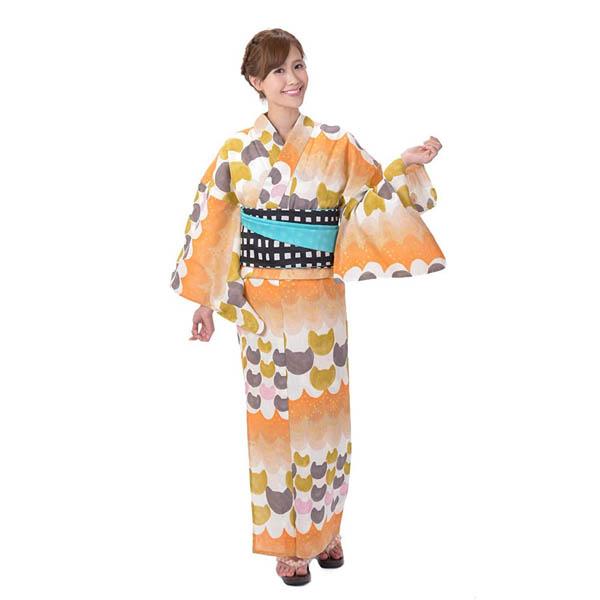 ゆかた 女性 単品 tsumori chisato ツモリチサト 白 オレンジ ねこ柄