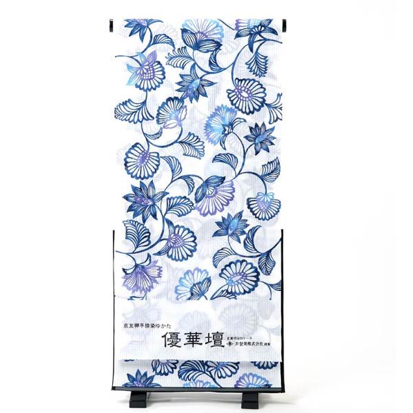 浴衣 反物 レディース たて絽 綿100% 生地 京友禅 手捺染 日本製 白 青 花 オプションでお仕立ても承ります