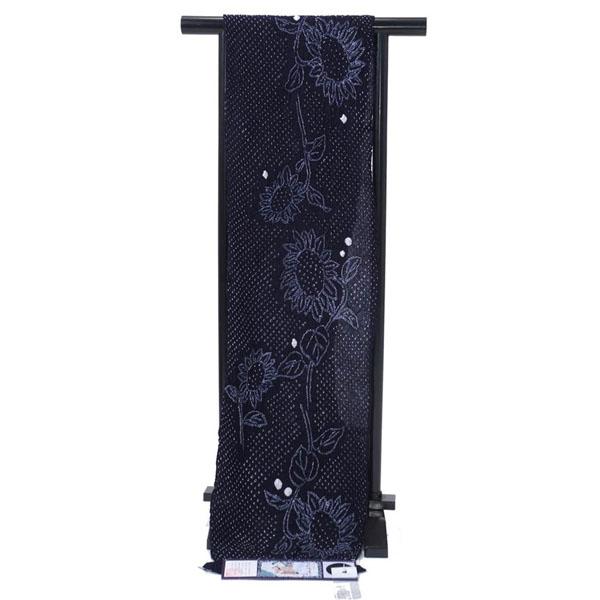 浴衣 反物 絞り 伝統工芸有松・鳴海絞ゆかた反物 紺 ひまわり 綿 オプションでお仕立てできます