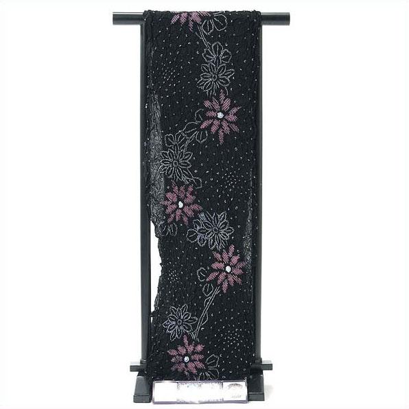 浴衣 反物 絞り 伝統工芸有松・鳴海絞ゆかた反物 黒 花柄 綿 オプションでお仕立てできます