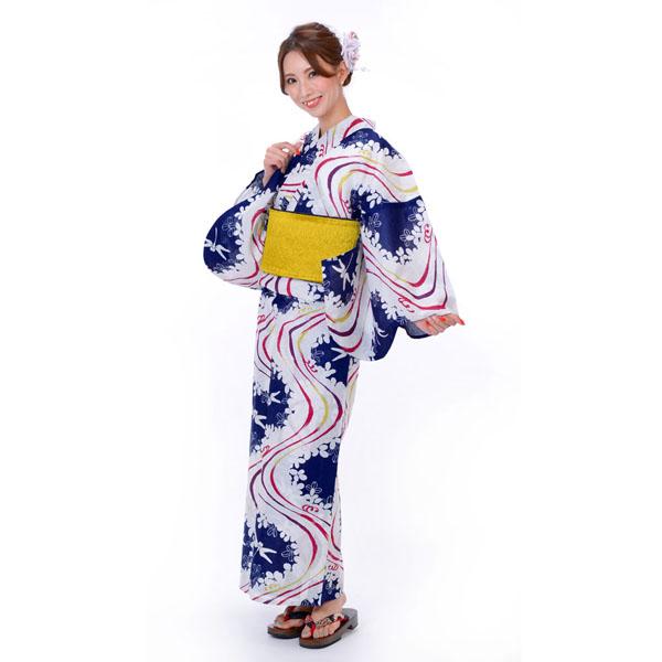 そしてゆめ浴衣+そしてゆめ半巾帯+下駄 3点セット レディースゆかた 紺 萩とトンボ
