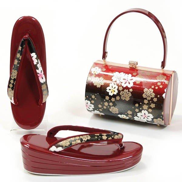 草履バッグセット 4段厚底草履 フリーサイズ 振袖 成人式 赤 桜