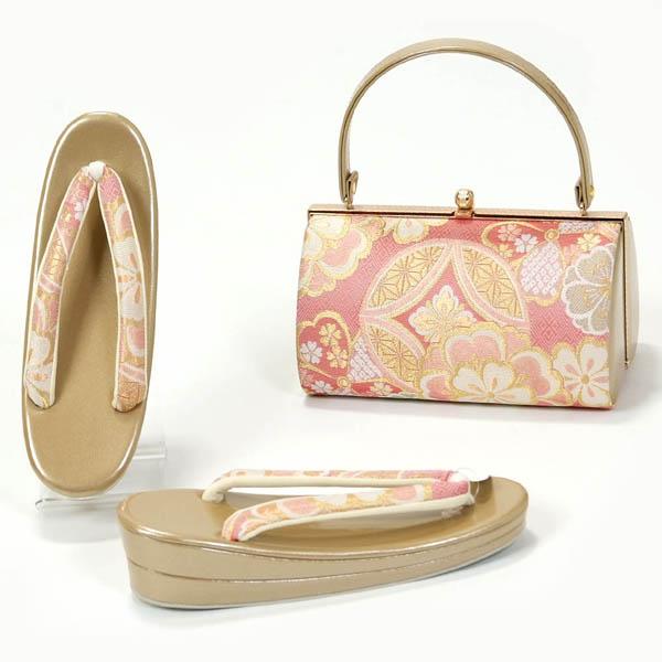 草履バッグセット 振袖 成人式 Lサイズ 和柄 ピンク×ゴールド