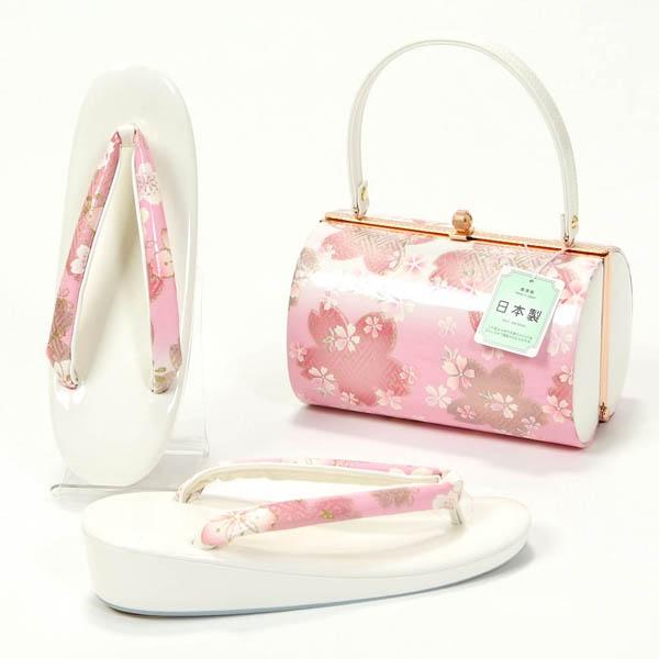 草履バッグセット 振袖 成人式 日本製 フリーサイズ 白×ピンク