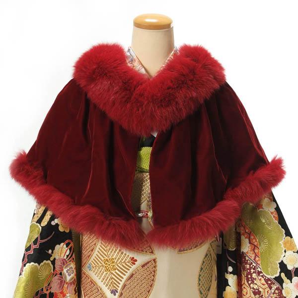 ショール 振袖 ブルーFOXファー フォックス 毛皮 ベルベット 和装ショール 着物ストール 日本製 成人式 振袖 ドレス