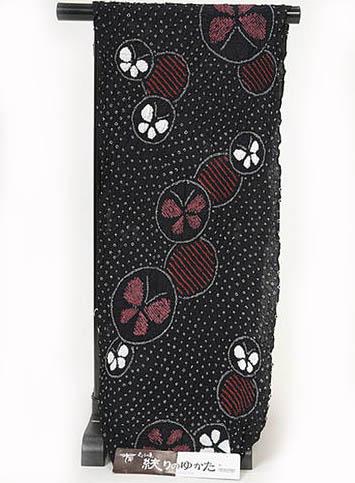 浴衣 反物 伝統工芸品 絞り浴衣反物 黒 蝶 オプションでお仕立てできます