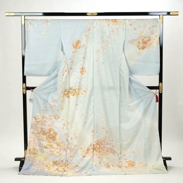 訪問着 正絹 礼装 フォーマル 未仕立て品 お仕立て付 水色