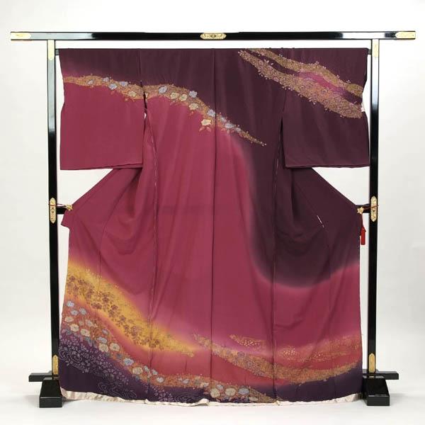 訪問着 正絹 礼装 フォーマル 未仕立て品 お仕立て付 辻が花 紫色