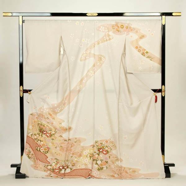 訪問着 正絹 礼装 フォーマル 未仕立て品 お仕立て付 薄グレー系