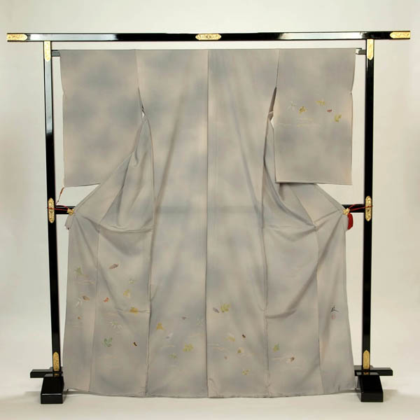 訪問着 正絹 礼装 フォーマル 未仕立て品 お仕立て付 黒島敏作 手描き オリジナル もやボカシ グレー系