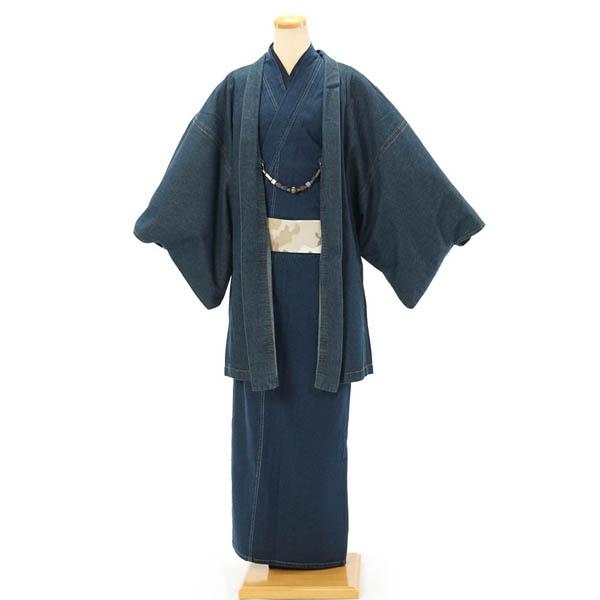 紳士 着物 デニム 単衣 カジュアル 着物・羽織 2点セット M・L インディゴ