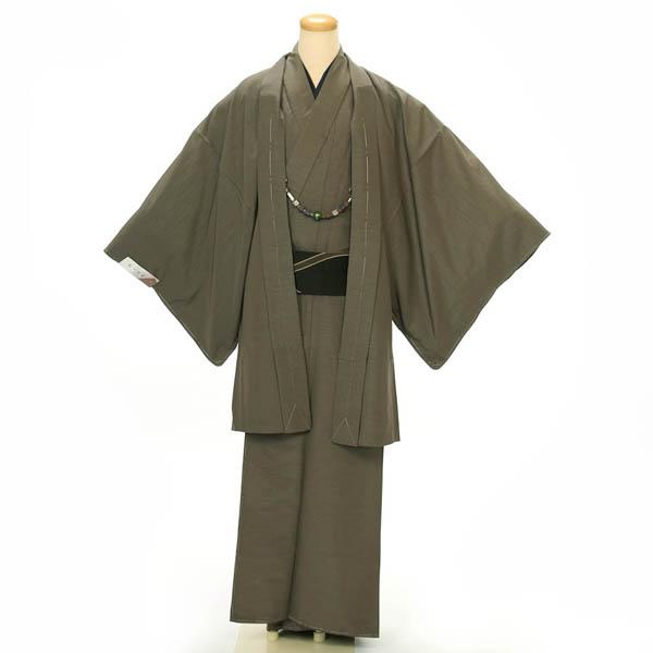紳士 着物 羽織 2点セット Lサイズ 洗える着物 グレー系 カジュアル 正月 初詣