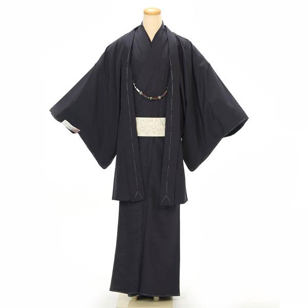 紳士 着物 羽織 2点セット Lサイズ 洗える着物 紺系 カジュアル 正月 初詣