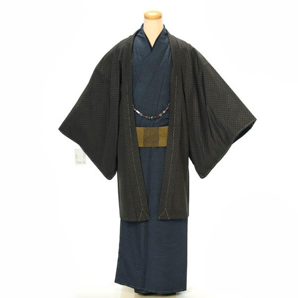 紳士 着物 羽織 2点セット hiromichi nakano Mサイズ 洗える着物 黒 紺 カジュアル お正月 初詣