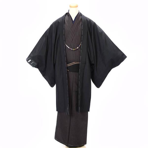 紳士 着物 羽織 2点セット Lサイズ 洗える着物 黒 茶 カジュアル 日本製 お正月 初詣