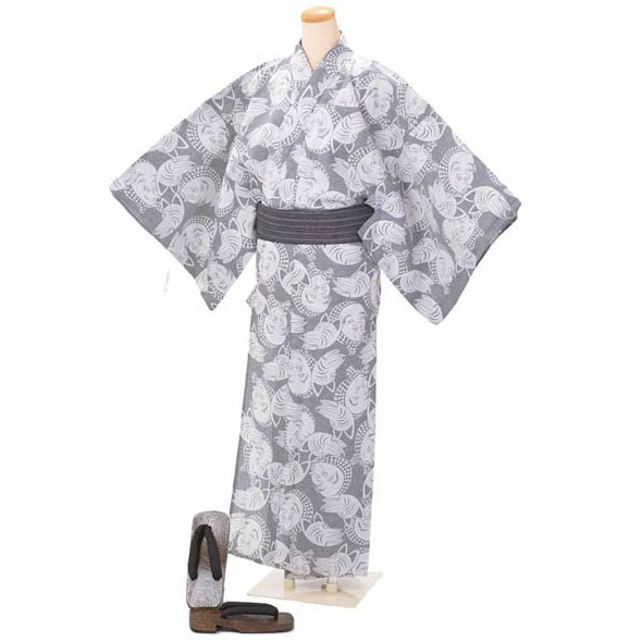 「父の日プレゼントにも」男ゆかた そしてゆめ 注染 日本製 3点セット Lサイズ グレー ひょっとこ 綿 麻