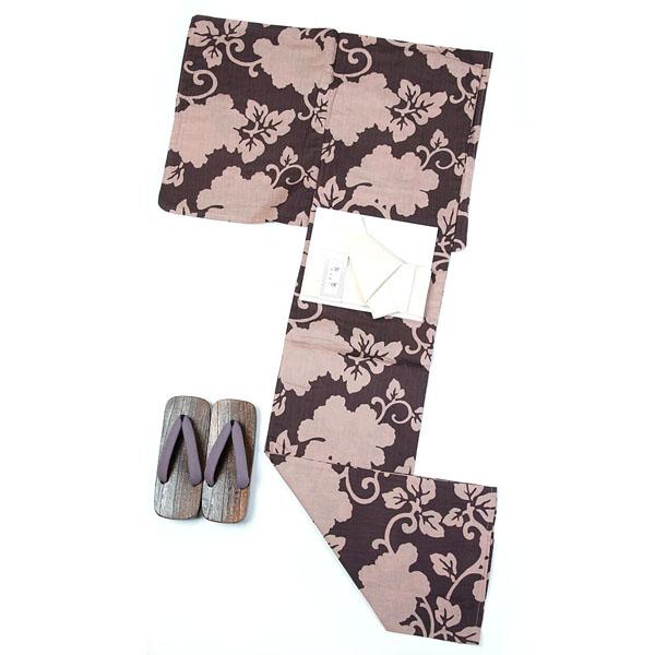 「父の日プレゼントにも」浴衣 メンズ 男 浴衣 ワンタッチ帯が付いた3点セット LLサイズ 日本の染め 茶 綿