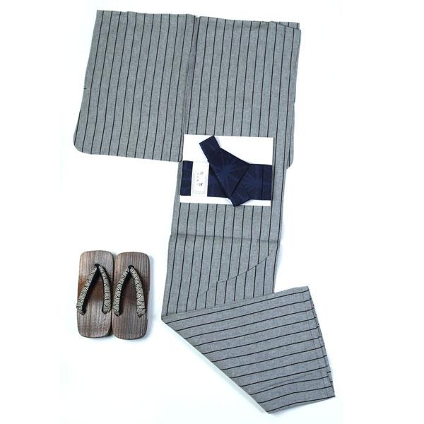 「父の日プレゼントにも」浴衣 メンズ 男 浴衣 綿・麻 ワンタッチ帯が付いた3点セット L・LLサイズ グレー ストライプ 縞