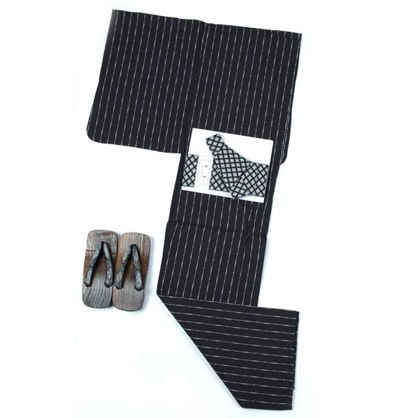 浴衣 メンズ 男 浴衣 綿・麻 ワンタッチ帯が付いた3点セット L・LLサイズ