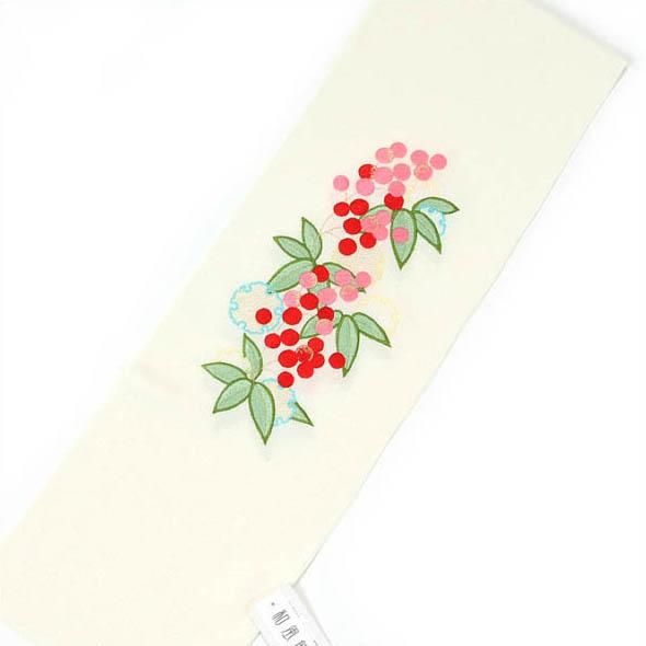 半衿 ちりめん 刺繍 ポリエステル100% 日本製