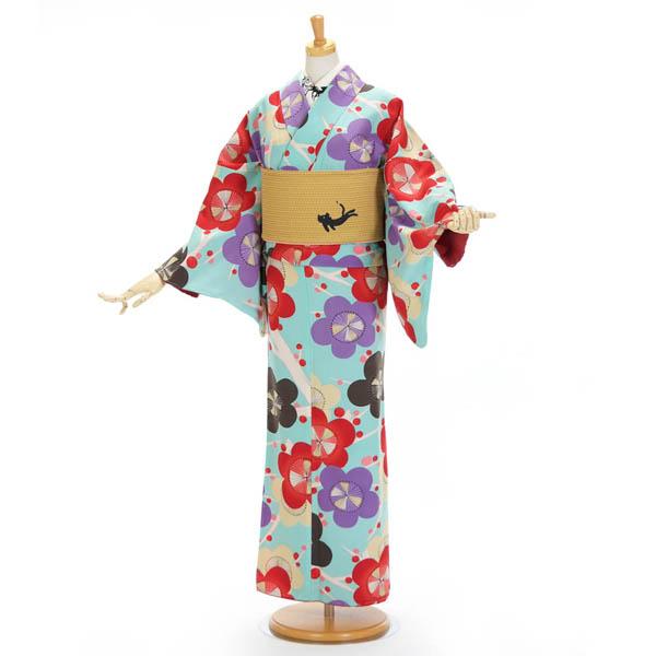 洗える着物 レトロ UNSODO レディース 袷 カジュアルきもの 日本製