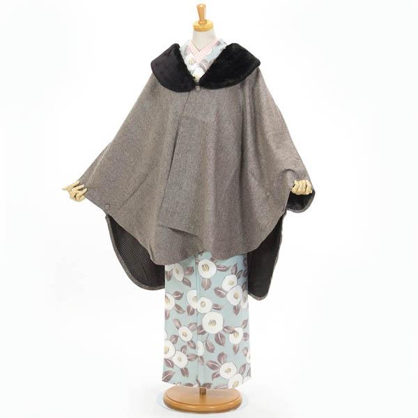 ポンチョ ケープ ストール 和装 着物コート hiromichi nakano ファー付 ネップツイード