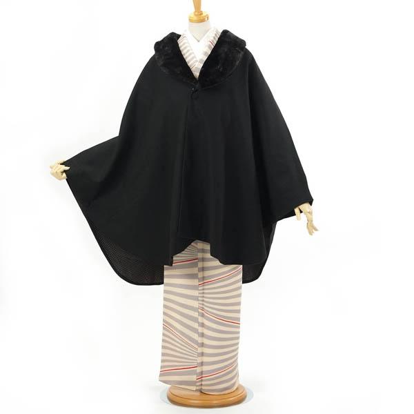 ポンチョ ケープ ストール 和装 着物コート hiromichi nakano ファー付 黒