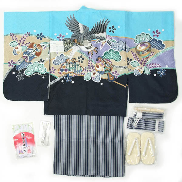 七五三 5歳用 羽織袴 12点フルセット 男の子着物【オプションで揚げ加工のお直し(+3000円)も出来ます】