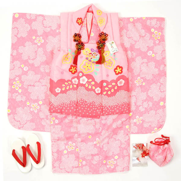 七五三 3歳用 被布セット三ッ身 ピンク【半衿付け・揚げ加工お直しサービス・足袋プレゼント】