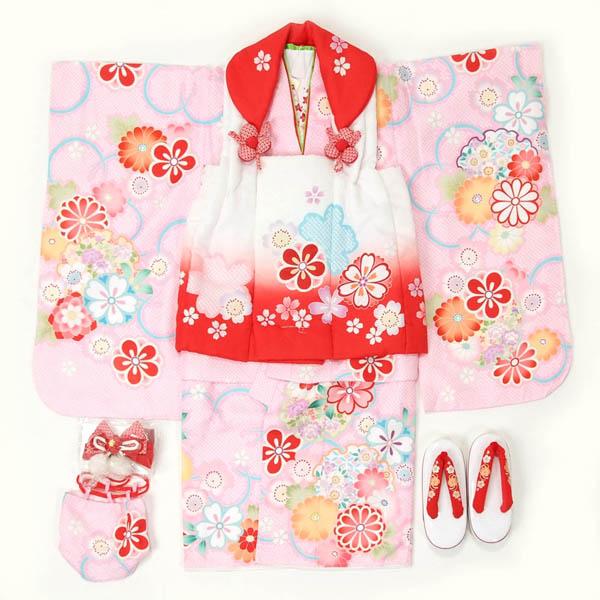 七五三 3歳用 被布セット三ッ身 ピンク【揚げ加工お直しサービス・足袋プレゼント】