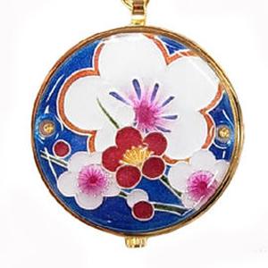 懐中時計 梅(紺) 着物に似合う存在感 京七宝 懐中時計 記念品・プレゼントにも