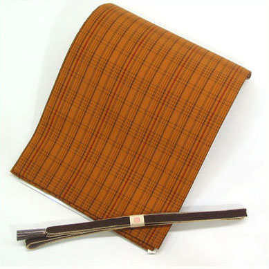 名古屋帯 正絹 紬 格子柄 十日町の特選紬地を使用 最高級綿帯芯 芯入れ仕立て付き