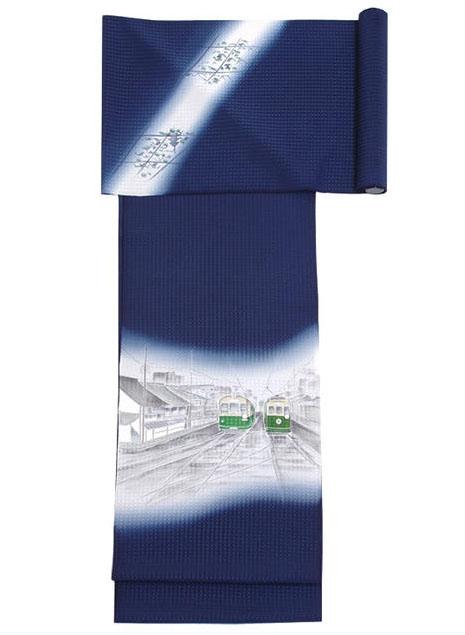 名古屋帯 昭和モダン 京都の市電 黒島敏作 お仕立てできます