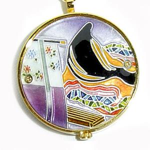 懐中時計 着物に似合う存在感 京七宝 源氏物語に恋する懐中時計 明石(紫) 記念品・プレゼントにも