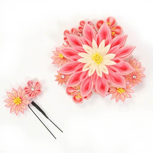 髪飾り 和装 2個セット つまみ細工 成人式 振袖 袴 ピンク