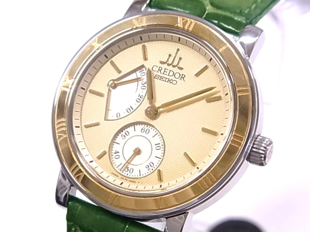 Seiko 4S79-0020 SEIKO credor power reserve SS/K18YG × leather ivory letter machine hand roll