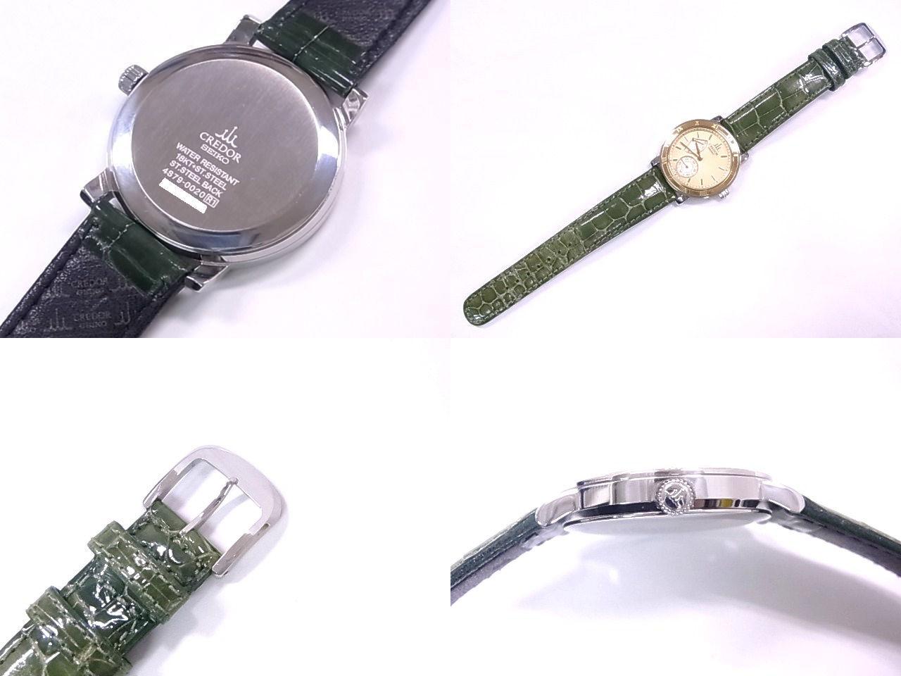 精工SEIKO 4S79-0020 kuredorupawarizabu SS/K18YG×皮革象牙表盤手卷