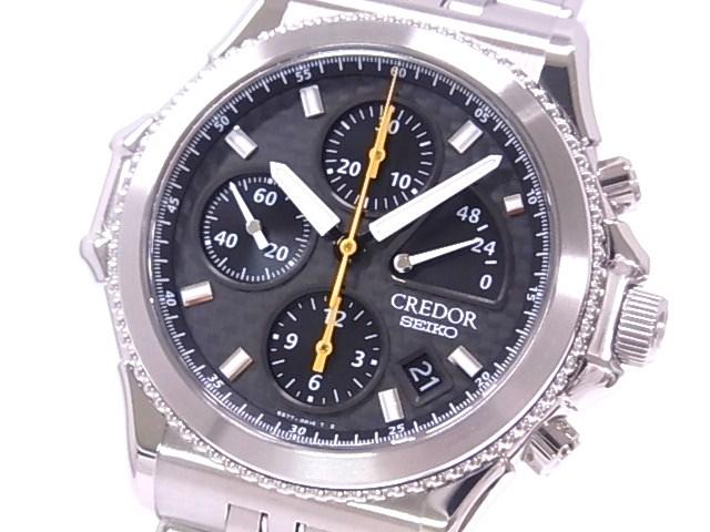 Year 2000 GCBK997 6S77 credor Pacifique Chronograph, SEIKO Seiko limited model SS black dial automatic winding caseback