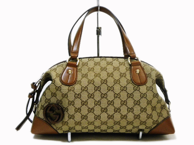 GUCCI Gucci 296898 bricklane 2-way handbag leather / canvas