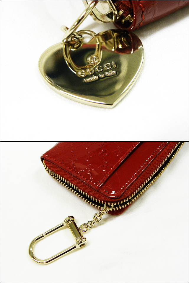 64a064335ae GUCCI Gucci 268750 micro guccissima key ring with coin purse patent leather  heart charm Red