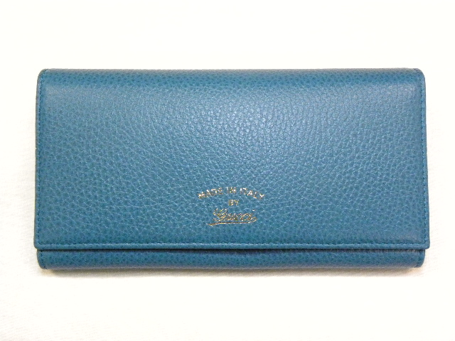 40ac1adcd98 GUCCI Gucci 354498 swing leather continental wallet (wallet with zipper)  cobalt blue