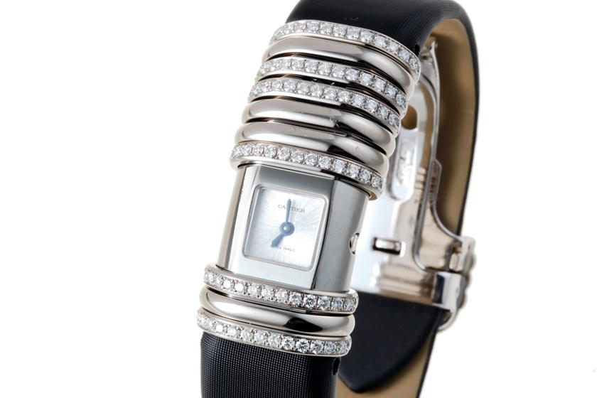 【美品】 Cartier カルティエ WT000450 デクラレーション K18WG/チタン x 革 ダイヤ入り シルバー文字盤 クォーツ 【中古】