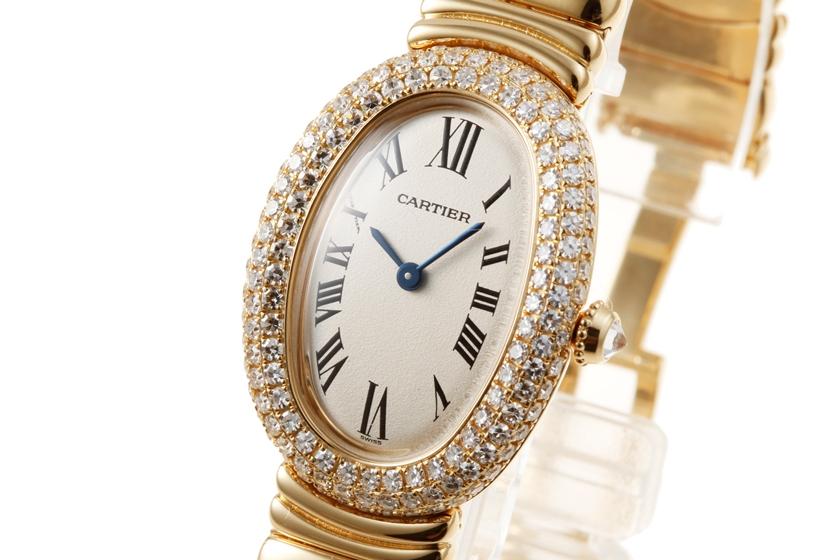 【美品】 Cartier カルティエ ベニュワール SM K18YG ケースダイヤ オフホワイト文字盤 クォーツ 【中古】