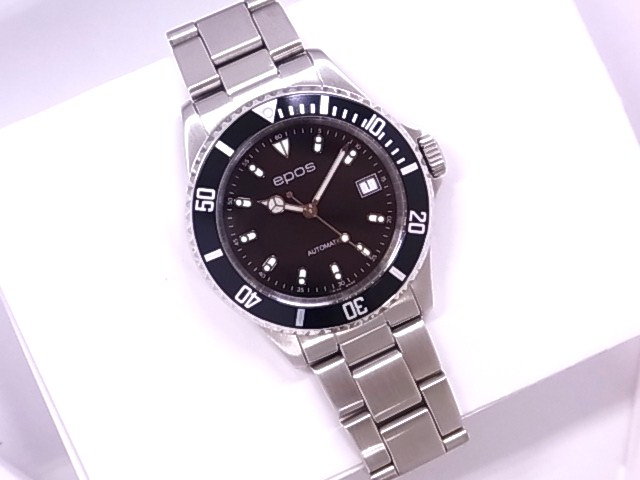 Expose EPOS 3253BKM divers men's black dial SS automatic winding