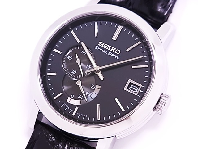 Seiko 5R64 SEIKO spring drive SS × leather black dial automatic movement