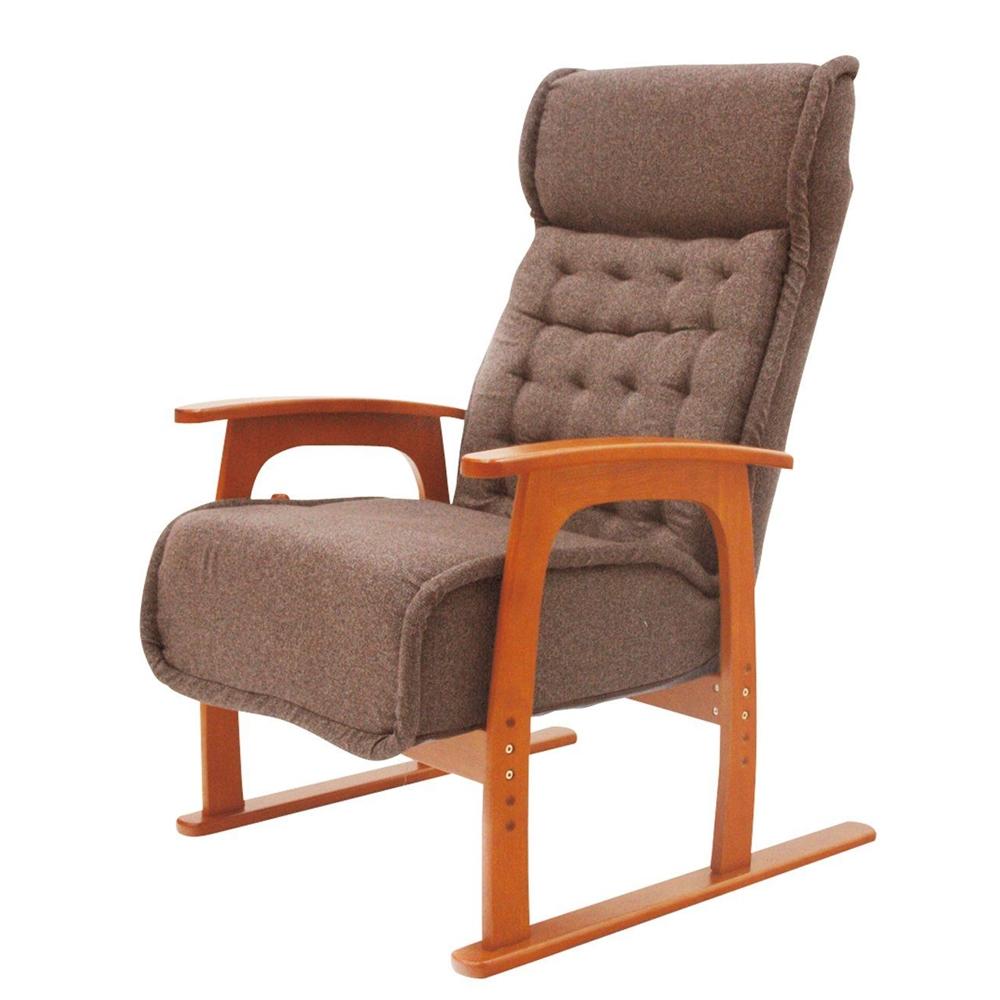 ヤマソロ コイル式高座椅子【紅葉】 ブラウン 【○】