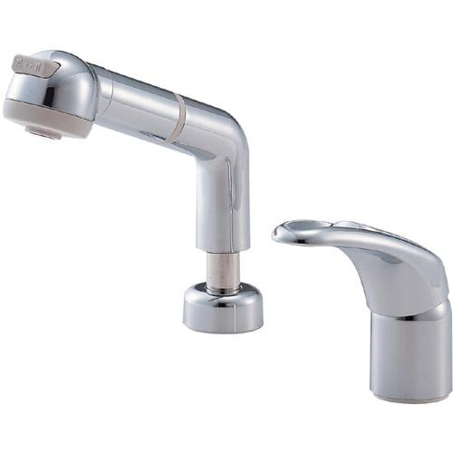 三栄水栓 SANEI シングルスプレー混合栓《混合栓/ツーホールシングルレバー式》(洗面所用) [K3761JV-C-13]